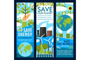 Vector save energy or eco planet lifestyle banners
