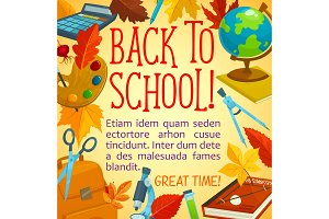 Back to school poster with frame of study supplies
