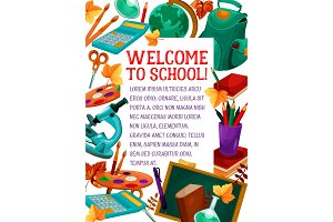 Back to School vector stationery education poster