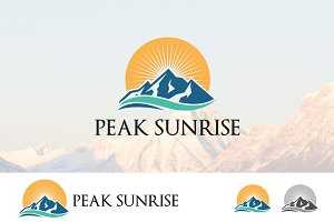Peak Mountain Sunrise Nature Logo
