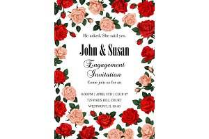Vector rose flowers Save the date greeting card