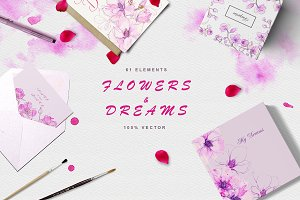 Flowers & Dreams.Vector set.