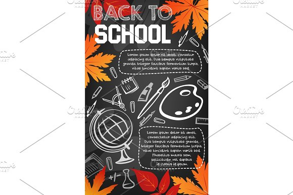Back To School Chalkboard Banner Of Study Supplies