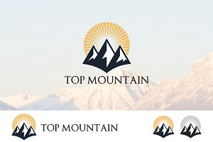 Simple High Mountain Sunrise Logo