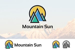 Abstract Mountain Sun Logo