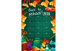 Back to School vector autumn stationery calendar