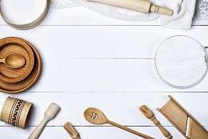 plates, sieve and rolling pin