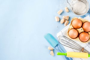 Ingredients and utensils for baking