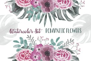 Watercolor Set Romantic Flowers