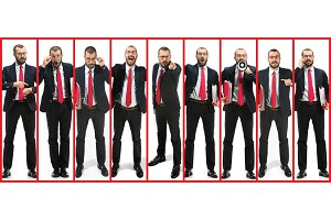 Collage about handsome young bearded man over white studio background