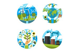 Vector icons for green nature environment ecology