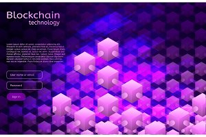 Cryptocurrency and blockchain isometric illustration.