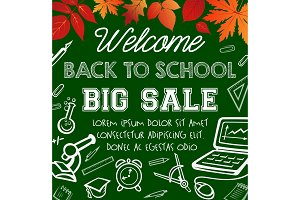 Welcome back to school sale promotion poster