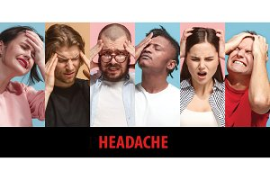 Group of stressed people having headache
