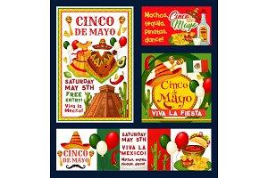Cinco de Mayo Mexican vector fiesta invitations