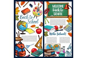 Back to School vector chalkboard sketch poster