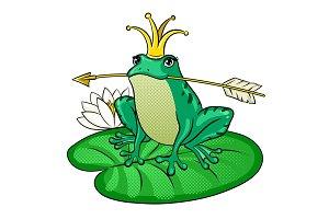 Princess Frog pop art vector illustration