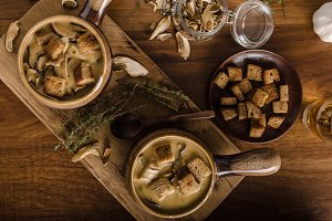 Rustic mushrooms soup