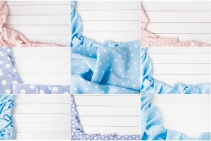 Big set of Light pink, blue, violet polka dots folded tablecloth over bleached wooden table. Top view image. Copyspace for your text.