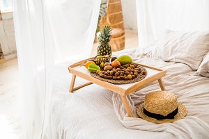 tropical fruits on the tray