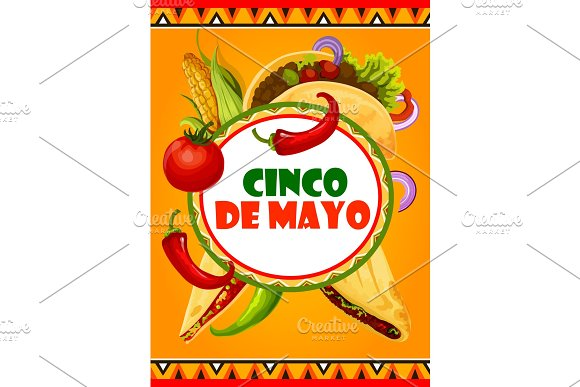 Mexican Cinco De Mayo Vector Mexican Fiesta Card