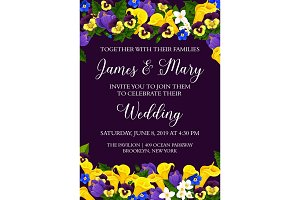 Flowers vector wedding party invitation card