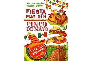 Cinco de Mayo party invitation for mexican holiday