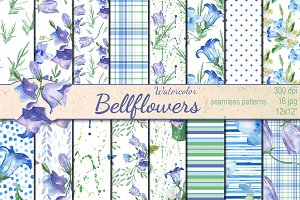 Watercolor Bellflowers patterns