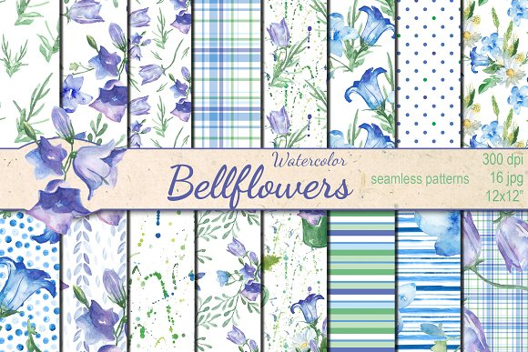 Watercolor Bellflowers Patterns