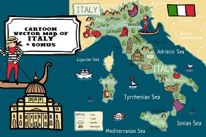 Cartoon vector map of Italy +bonus