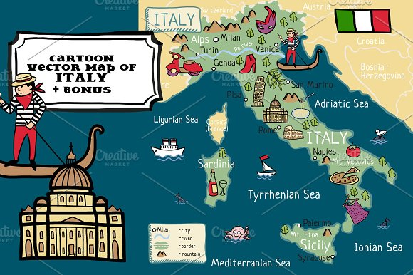 Cartoon vector map of Italy +bonus