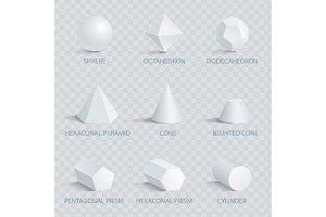 Sphere and Octahedron Set Vector Illustration