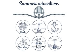 Summer Adventure Poster with Round Sketchy Icons