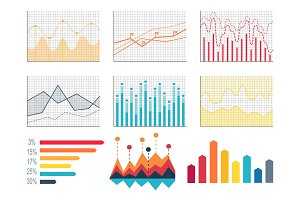 Diagrams and Percents Poster Vector Illustration