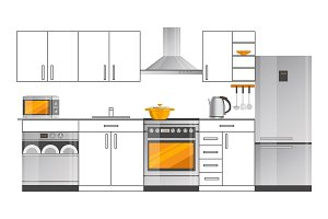 Kitchen Interior Design Template with Appliances