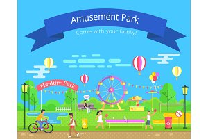 Amusement and Healthy Park Vector Illustration