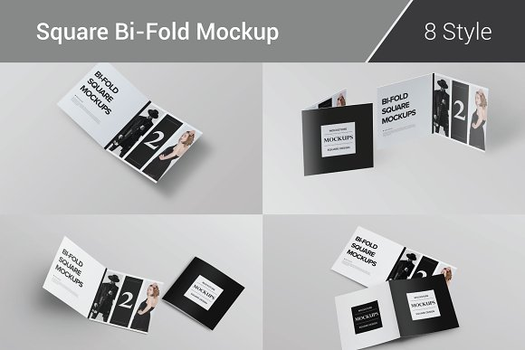 Download Bi-Fold Brochure Mockup 8 Style