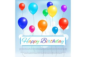 Happy Birthday Greeting Card Color Balloons Flying
