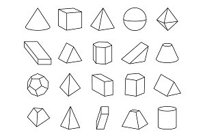 Cone and Pyramid Shapes Set Vector Illustration