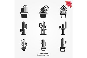 Different cactuses icons set