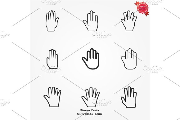 Palm Hand Icon Vector Filled Flat Sign Solid Pictogram Isolated On White Logo Illustration