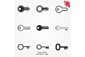Key Icon in trendy flat style isolated on grey background. Key symbol for your web site design, logo, app, UI. Vector illustration