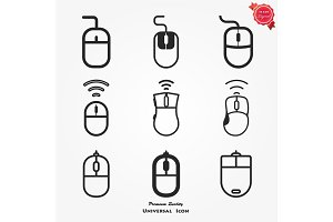 Computer Mouse Icon Symbol Set