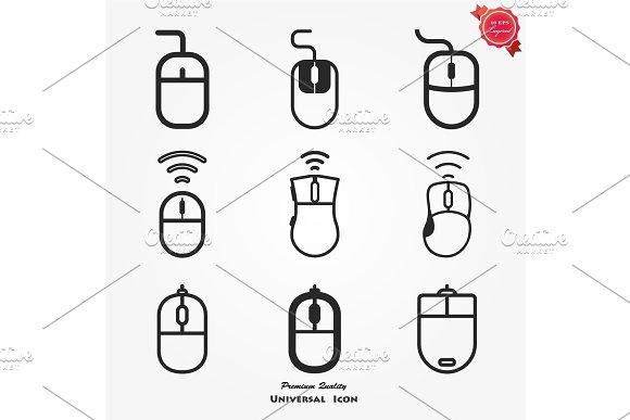 Computer Mouse Icon Symbol Set