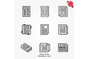 Newspaper icons set on white . Vector illustration