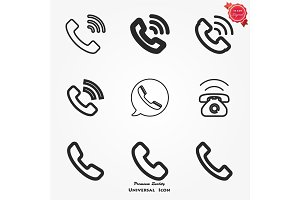 Phone Call vector icon. Style is flat symbol, gray color, white background.