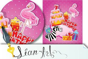 Baby birthday card with flamingo