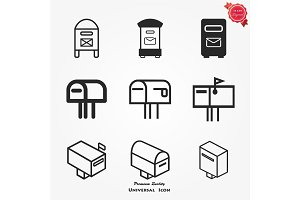 Mail box icon. Flat design. Vector illustration