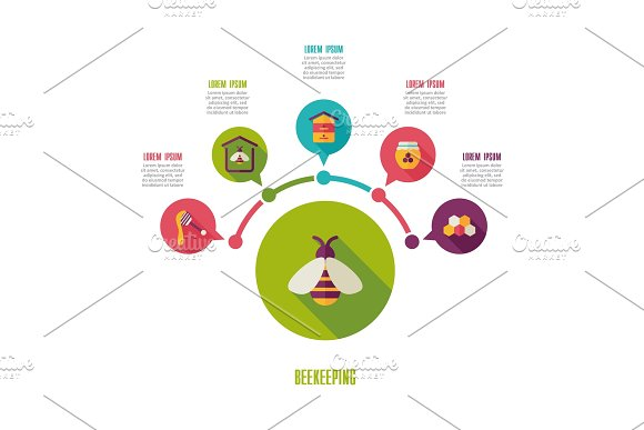Beekeeping icon and agriculture infographics in Illustrations
