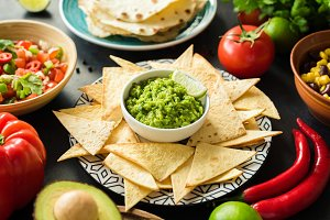 Guacamole, tortilla chips and salsa
